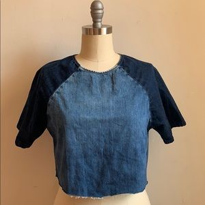 Topshop Denim Cropped Top